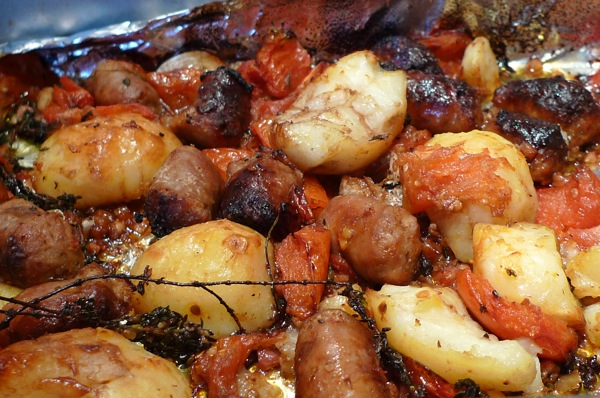 Sharing Plate » Rustic Sausage and Potato Bake