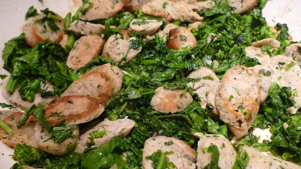 ... sausage get a nutritious boost from walnut pesto and broccoli rabe