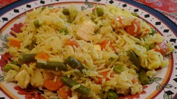 Vegetable Pulao with Paneer