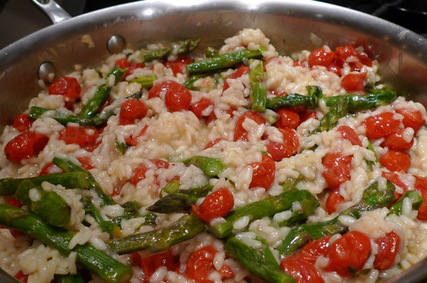 Roasted Asparagus and Tomato Risotto