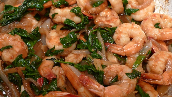 Shrimp and Spinach Stir Fry