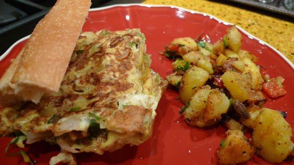 Indian Omelet Sandwich with Home Fries