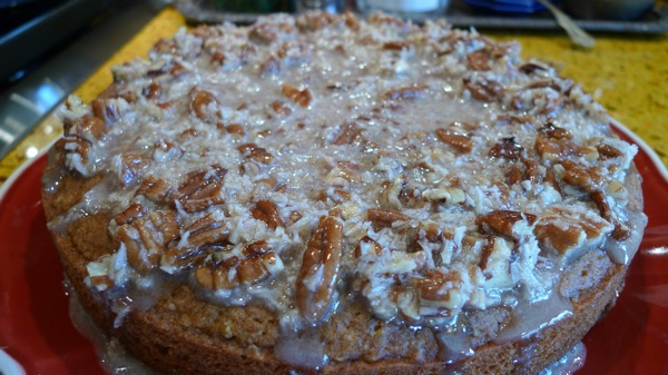 Sweet Potato Cake with Toasted Pecans and Coconut