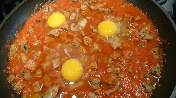 Sausage and Eggs in Marinara Sauce
