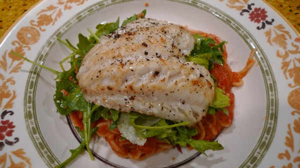 Alaskan Cod with Spaghetti and Arugula