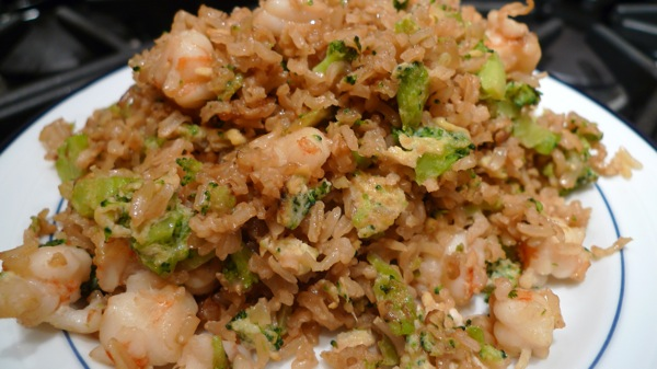 Fried Brown Rice with Shrimp and Broccoli