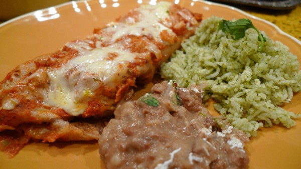 Mushroom and Red Chile Enchilada