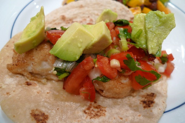 Sharing Plate » Fish Tacos with Tomato Salsa and Avocado Chunks