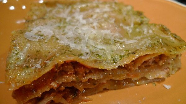 Pork Ragu and Pesto Bechamel Lasagna