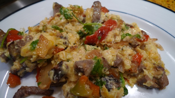 Scrambled Eggs with Steak and Peppers