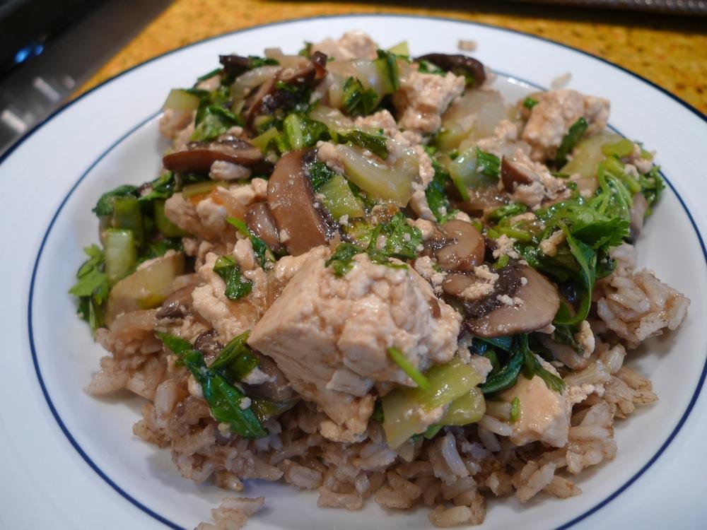 Tofu bok choy and mushroom stir fry