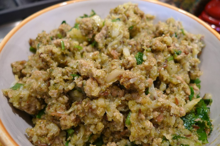 Ground Pork with Cauliflower in Cilantro Sauce