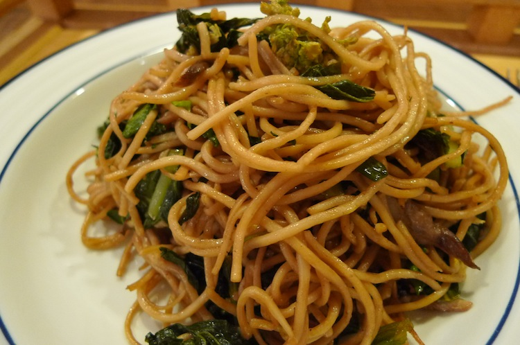 Lo Mein with Chinese Broccoli and Mushrooms