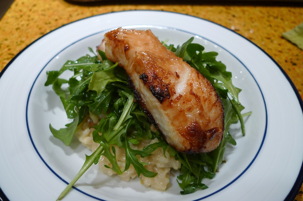 Roasted Fennel Risotto with Chilean Seabass
