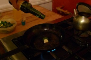 Cooking the Chayote wrapped fontina...