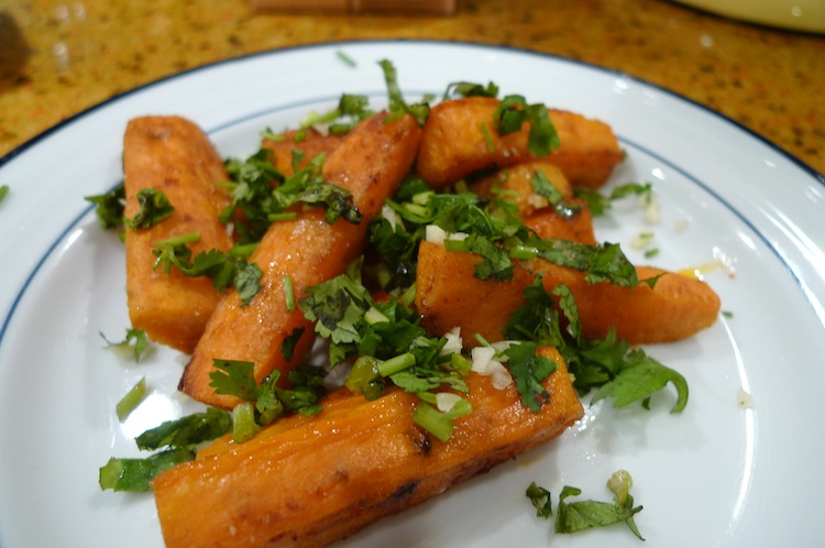 Sweet Potato Fries with Garlic and Cilantro