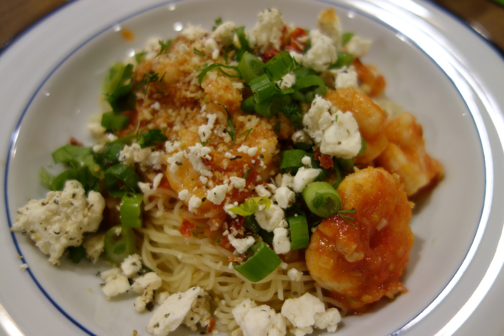 Greek Style Shrimp with Angel Hair Pasta