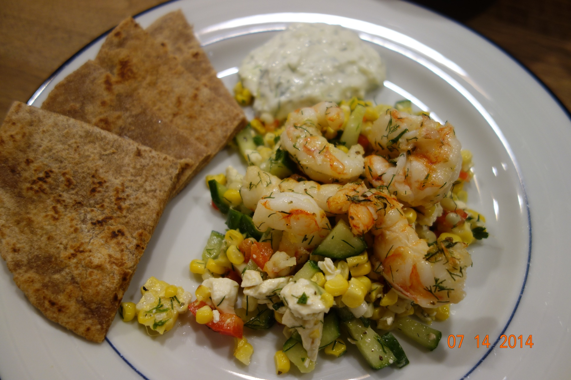 Grilled Shrimp with Dill and Tzatziki Sauce