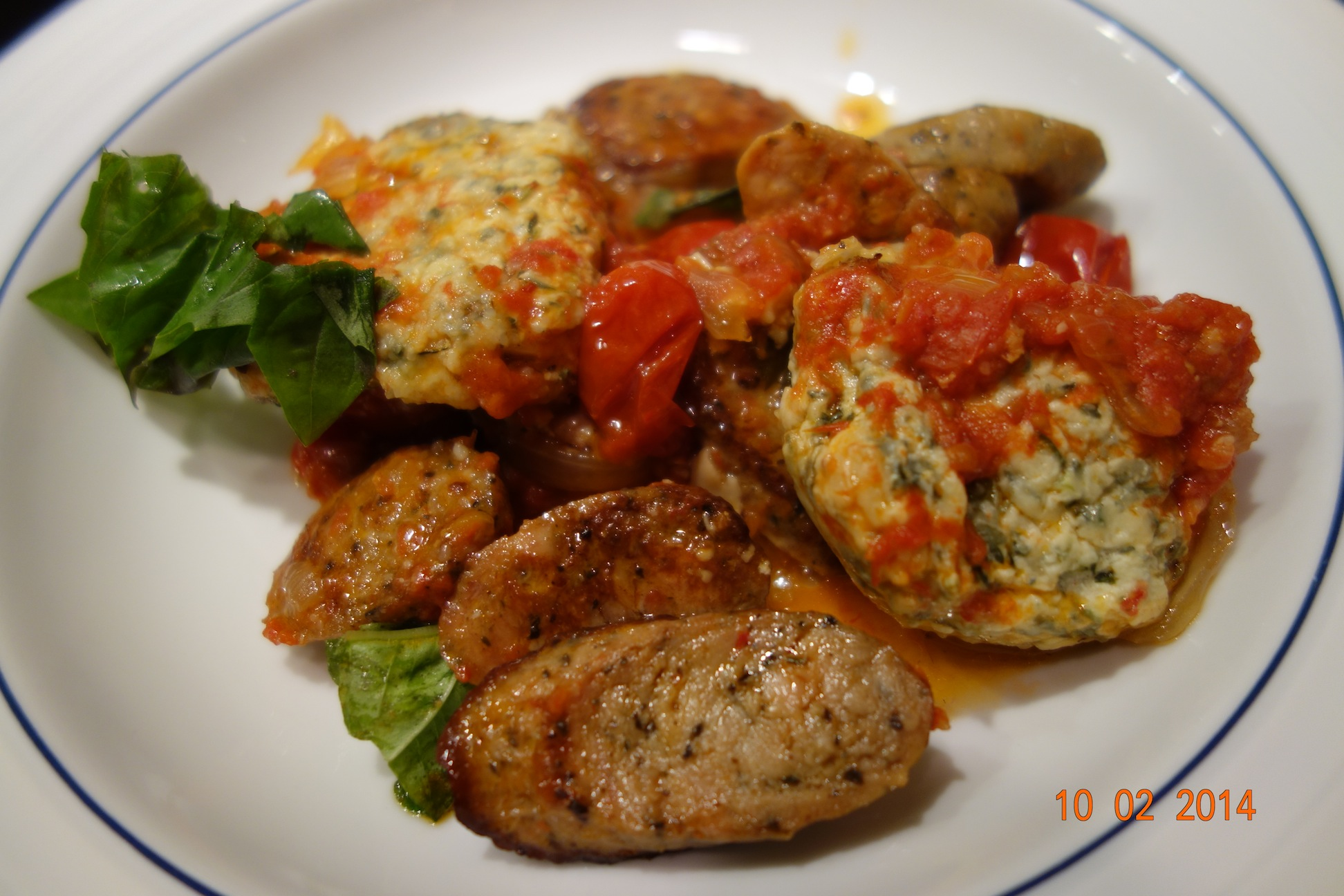 Ricotta and Spinach Dumplings with Sausage