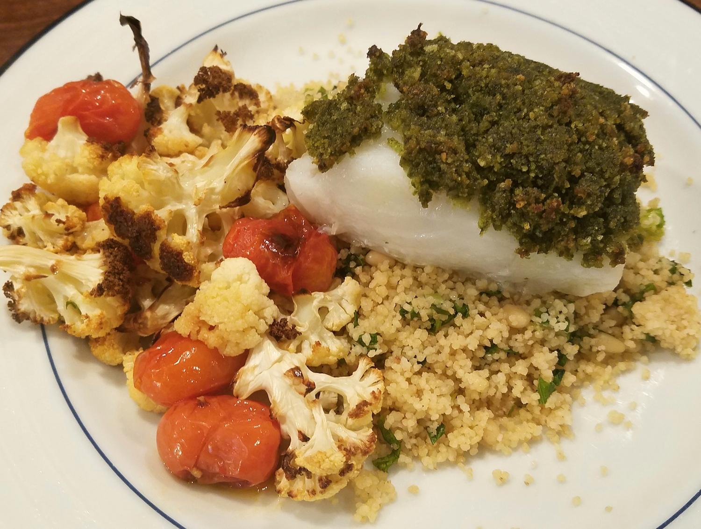 Pesto Crusted Cod with Roasted Cauliflower